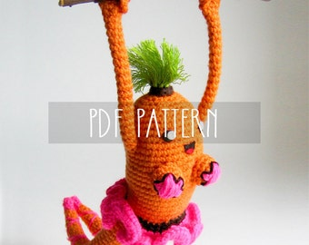 PDF PATTERN - EN - Crochet pattern for amigurumi -  Akrrrobat Karrrot Grrrl, trapeze artist with a pink tutu and a mohawk - ooak