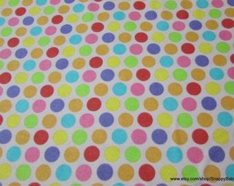 Flannel Fabric - Dots Multi - 1 yard - 100% Cotton Flannel