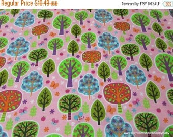 Back to School SALE Flannel Fabric - Trees - 1 yard - 100% Cotton Flannel