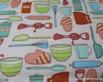Flannel Fabric - Kitchen Tools - 1 yard - 100% Cotton Flannel