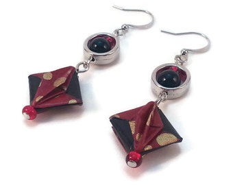 red origami pendant earrings, japanese folded paper earrings, red, black and gold earrings, chiyogami from japan