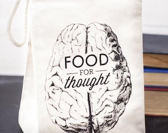 Brain Food for Thought Reusable Lunch Bag | Vintage Neuroscience Biology Nursing Psychology Nurse Nutrition Science Nerdy Gift