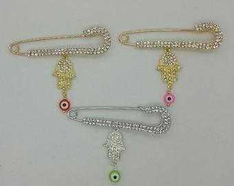 Hamsa pin, stroller pin, baby pin, jewish pin, gold stroller pin, silver stroller pin, baby brooch, baby gift, baby shower gift, pink pin