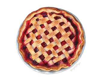 Cherry Pie with Lattice // Food Illustration // Art for kitchen, red, purple, farmhouse, kitchen, rustic, bakery