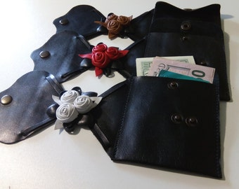 Leather Wrist wallet,  Hands Purse, Hands wallet, Black Red, Cuff wrist wallet