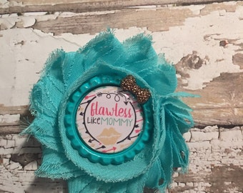 Flawless like mommy single shabby flower hair clip