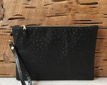 Large Leather Wristlet/Clutch