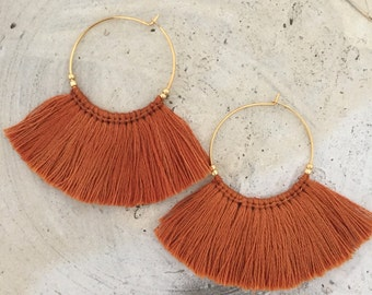 Teracotta fringe earrings tassel earrings