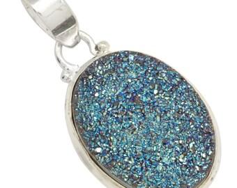 Blue Titanium Druzy Gemstone Pendant with Chain Solid 925 Silver Jewelry IP28501