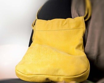 "Woman's Hobo Bag soft gentle buffalo skin, 70ies Vintage-Look ""Beutesack"" mais yellow Shoulder bag, gift for wife, gift for girlfiend"