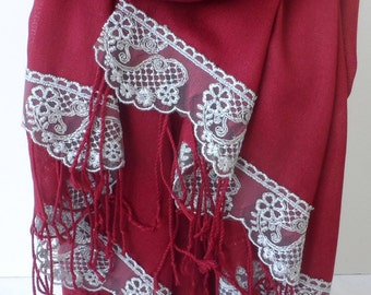 Dark Red Pashmina with Silver Gray French Lace Christmas shawls Lace Dark Red Scarfs Bridesmaid pashmina Women Wedding shawls Fashion Trend