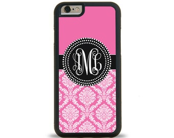 Hot Pink Damask Monogram Personalized iPhone Case, Monogram Personalized Galaxy Case