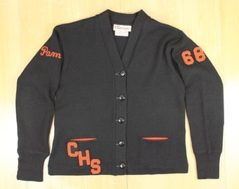 vintage 1968 varsity letterman sweater lasley knitting co of seattle black w orange cardigan letterman