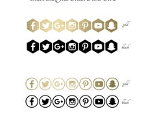 """INSTANT DOWNLOAD Gold and Black """"Social Icons 2"""" for Blog or Marketing Icons"""