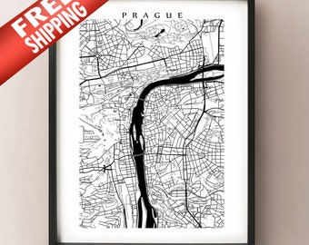 Prague Map Print - Black and White