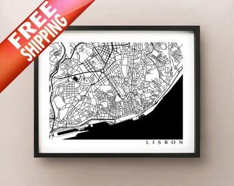 Lisbon Map - Black and White Wall Art, Lisboa, Portugal Art Poster
