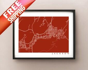 Jackson Map Print - Jackson Hole, Wyoming Poster
