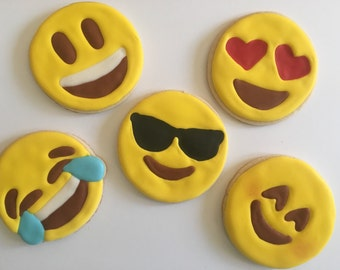 12 Emoji sugar cookies- 3""
