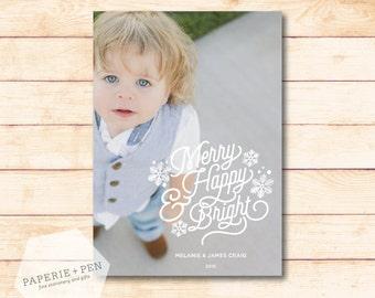 Merry, Happy & Bright  // Holiday Photo Card