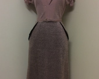 1950s Vintage Dusky Pink and Black Wool Wiggle Dress