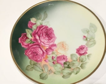 Thomas Sevres Bavaria Plate, Hand Painted Pink Rose Plate, Artist Signed Bavarian China, Antique Plates, Bavarian Plate, Bavaria Germany