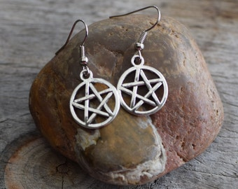 Pentagram earrings, supernatural, pagan jewelry, wiccan jewelry, earrings, dangle earrings, drop earrings, pentacle, Australian seller