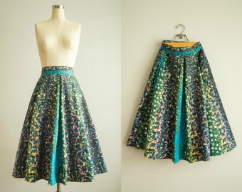 vintage 1950s skirt / watercolor circle skirt / extra small / Vincent Skirt