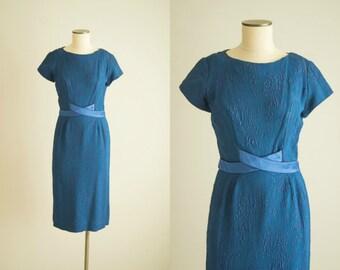 vintage 1950s dress / 50s royal blue wiggle dress / medium / Office Manager Dress
