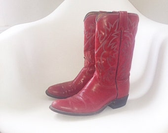 Women's Vintage Red Leather Cowboy Boots US Size 8.5 M