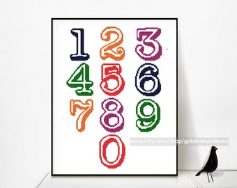 Numbers cross stitch, Set of cross stitch numbers 0-9, Cross stitch pattern PDF, Vintage typewriter, Font, Save the date, Address, Wedding