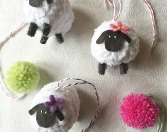 Knitted Sheep Decoration with felt flower
