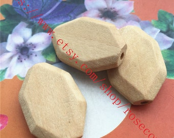 Wholesale 20pcs 35x25mm original facet wood beads findings--unfinished--hole 2.5mm