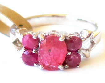 Lovely Dainty Natural Ruby 925 Sterling Silver 14k Ring 6.5