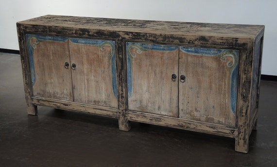 Reclaimed Wood Large Sideboard Cabinet Media Console With Blue