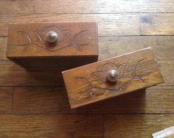 Retro wood drawers boho motif