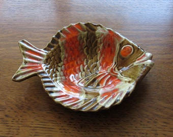 Vintage Ceramic Fish Dish,Retro 1970's Orange & Brown,Large Trinket Tray,Candy Dish,Bettis Pottery,Marine,Fish Lover's Gift,Orange Fish Dish