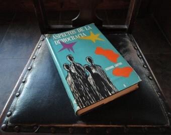 1965, Aspectos De La Democracia, Giovanni Sartori, Rare Mexican Version, Spanish Translation, HC Book, Political Science,Philosophy,Academic