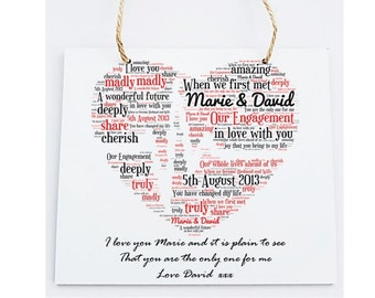 Personalised Our Engagement Word Art Wooden Plaque