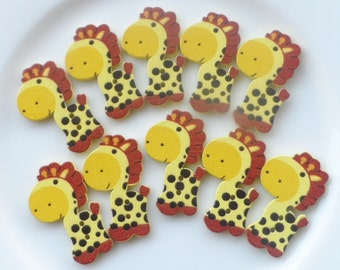 10 Wooden buttons to Giraffe 40x23 mm