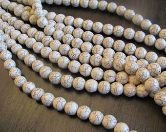 12mm Howlite Beads - WHITE - 16in strand