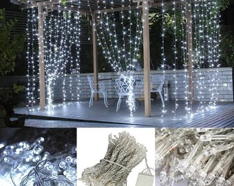 Bright LED Curtain Fairy Lights  304 Ct 9.8 FT X 9.8 FT  Weddings Christmas Holidays Parties Home Decor