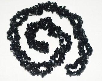 "2 Strands Black Onyx Chips 36""Long"