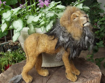 Needle felted Lion,Needle felted animal, Lion, Felted Lion, OOAK needle felted Lion