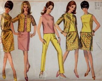 Vintage sewing pattern Simplicity 7087 Dress or overblouse, jacket, skirt and slacks pattern Size 10