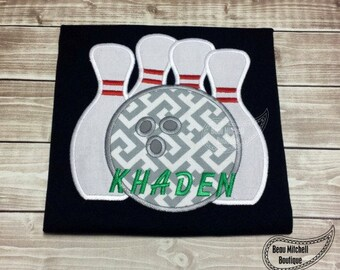 Personalized Bowling Pins Bowler Applique Shirt or Onesie