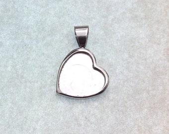 12mm Bezel Setting -  Stainless Steel Tray - Heart Pendant Tray 304 Stainless Steel Bezel - 12mm Heart Bezel For Resin 13x20x2mm  (128)