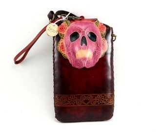 Skull/ Day of the dead leather cell phone purse