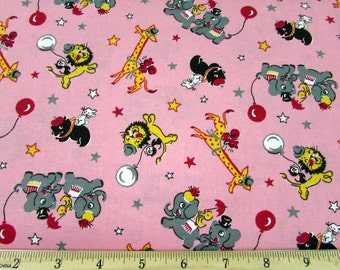 Circus Animals Pink Fabric From RJR By the Yard