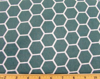 Hexagon  Spa Blue Fabric