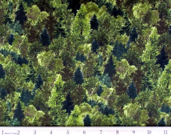 Remington Whitetail Ridge Trees Green Fabric From Quilting Treasures By the Yard